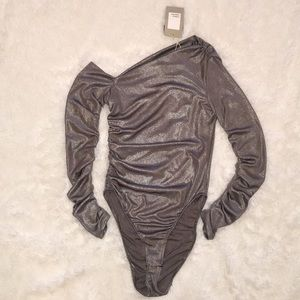 NWT ZARA Metallic Stretchy Off Shoulder Bodysuit S
